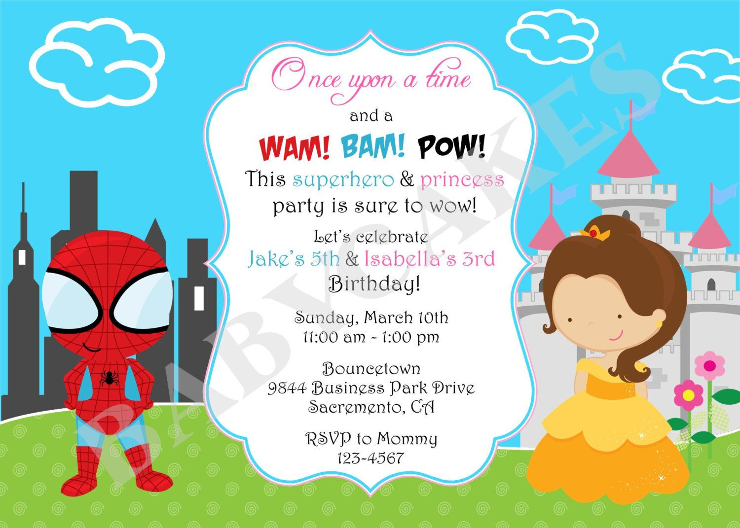 Superhero Princess Birthday Invitation Invite Sibling Superhero ...