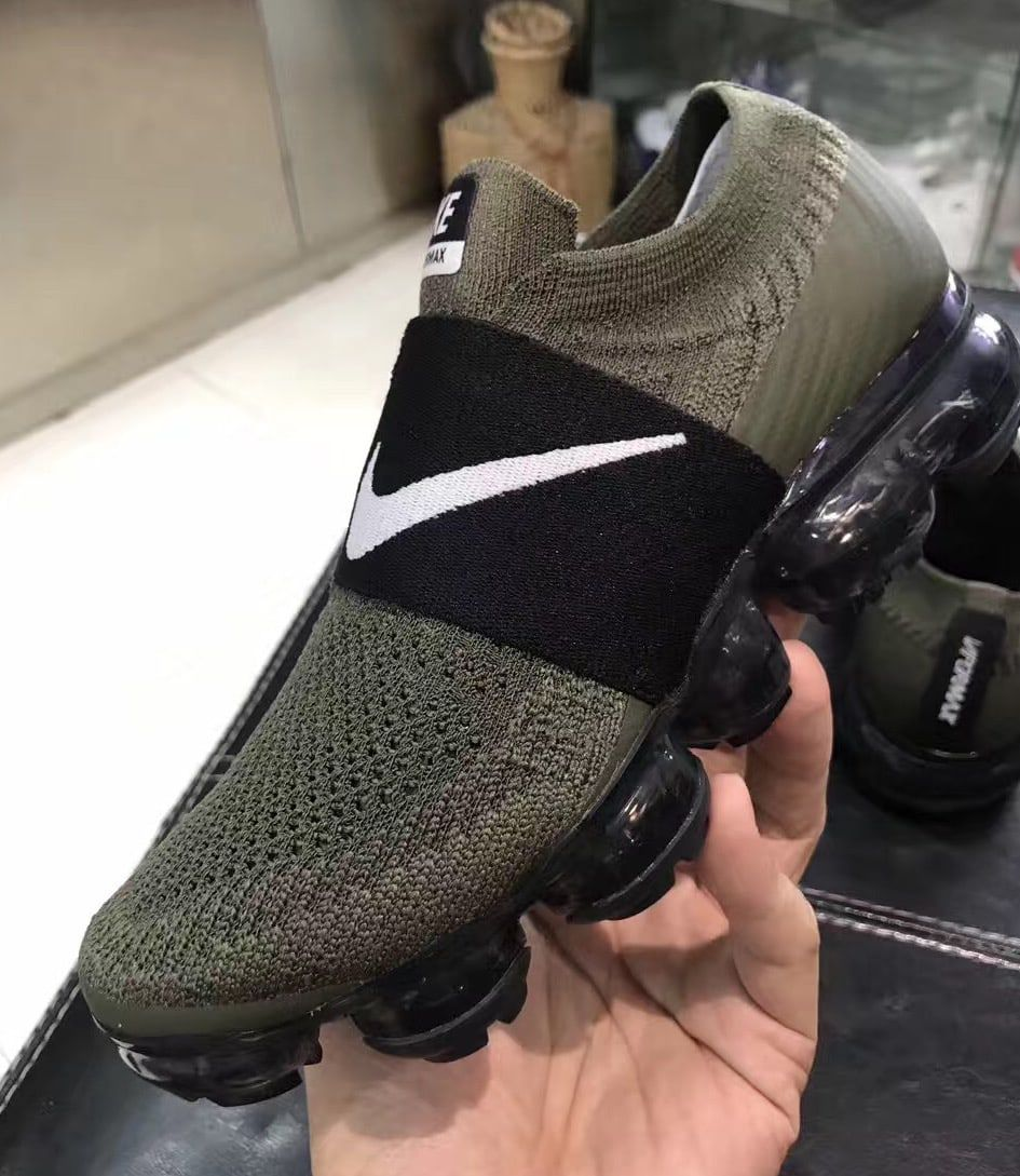 f272ece1a032 Nike VaporMax Laceless Olive Black (Lateral2)