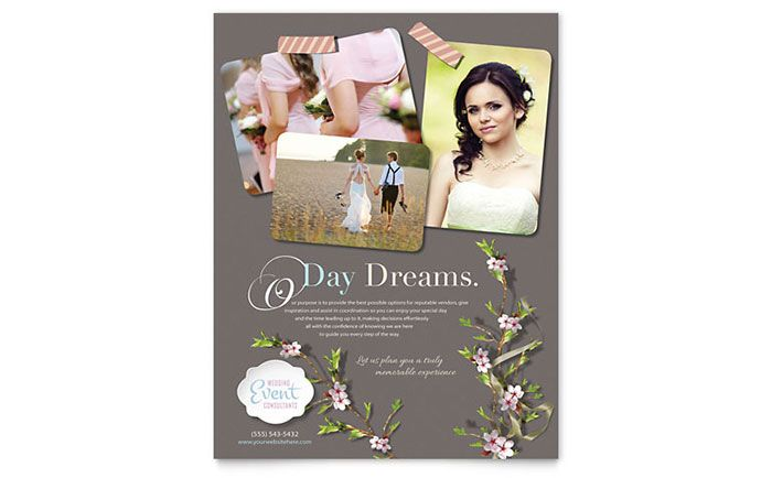 Wedding Planner Flyer Design Template by StockLayouts Graphic - wedding flyer