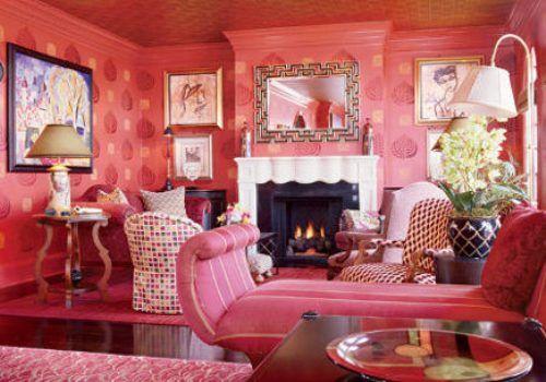 Salmon Pink Walls Living Room Wallpaper | Hale nani | Pinterest ...