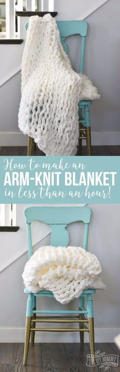32 Easy Knitted Gifts - Arm Knit Blanket In Less Than An Hour - Last Minute Knitted Gifts, Best Knitted Gifts For Anyone, Easy Knitted Gifts To Make, Knitted Gifts For Friends, Easy Knitting Patterns For Beginners, Quick And Easy Knitted Gifts http://diyj