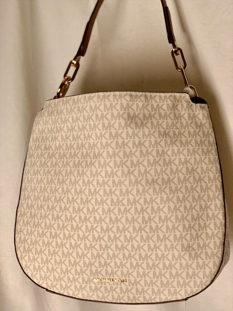 1264698f13c8 MICHAEL KORS shoulder bag new with tags large white and gold!  fashion   clothing