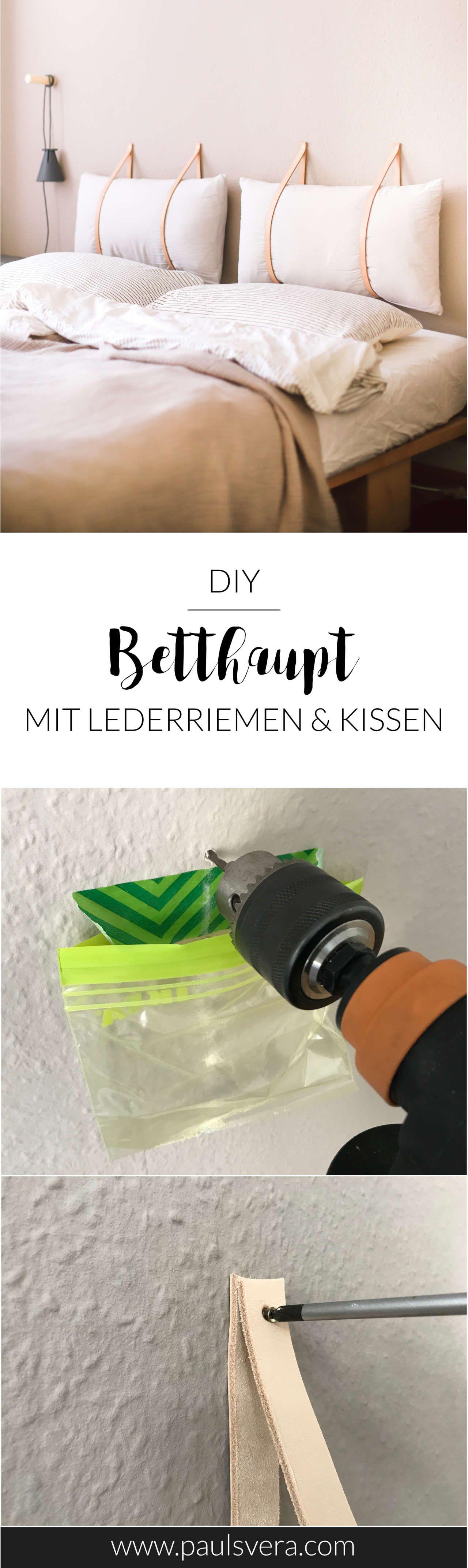 DIY Betthaupt mit Lederriemen