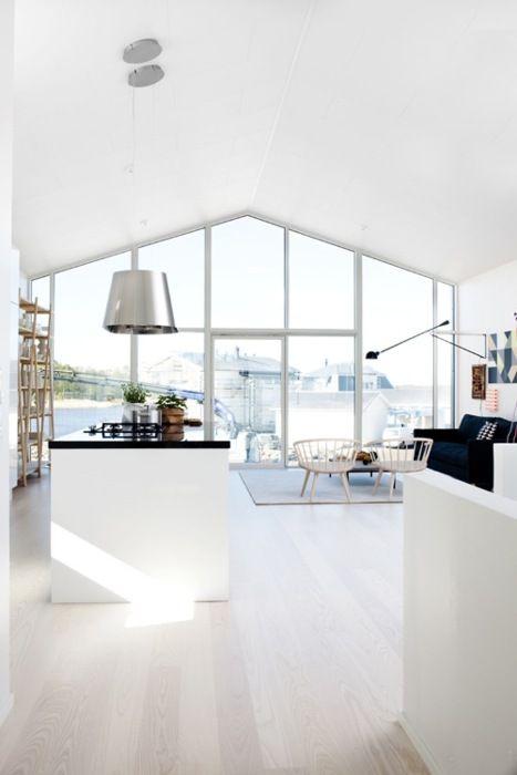 Modern Kitchen, white, windows, view, etc.