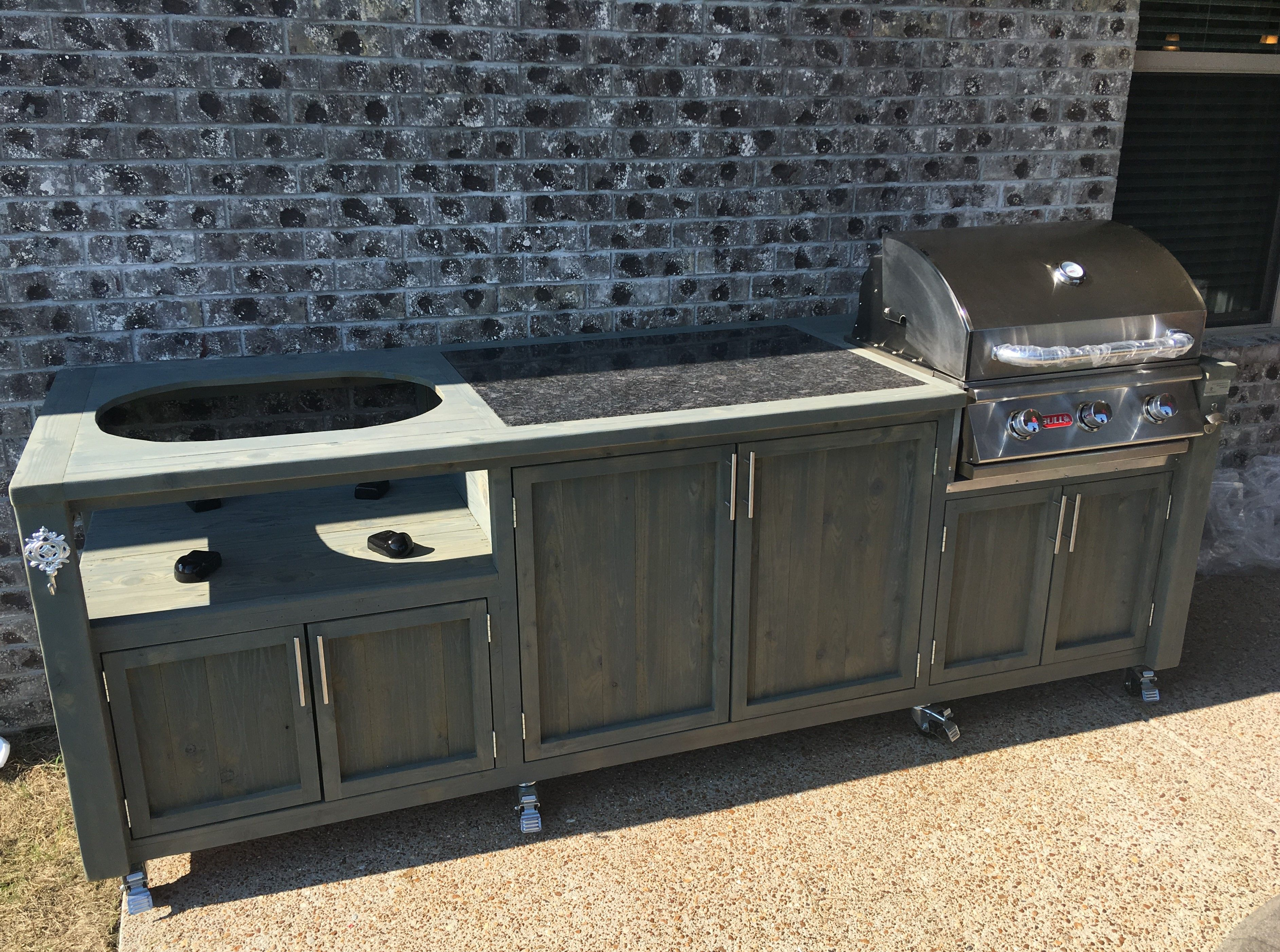 Dual Grill Cabinet For Bull Gas Grill Primo Kamado Grill Table Custom Grill Outdoor Kitchen