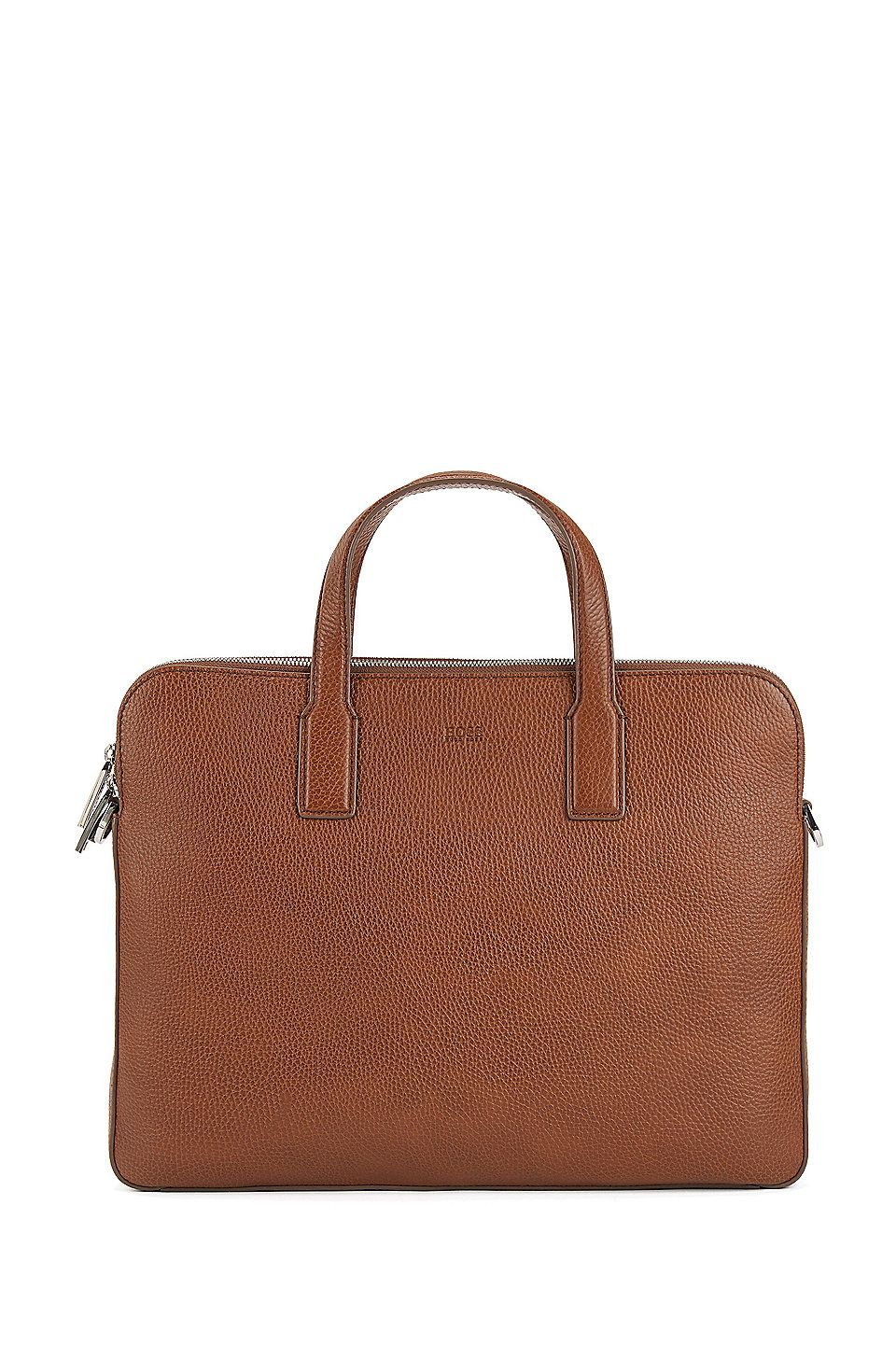 0b7f7f31a3 HUGO BOSS Double document case in grainy Italian leather - Light Brown  Business Bags from BOSS for Men in the official HUGO BOSS Online Store free  shipping