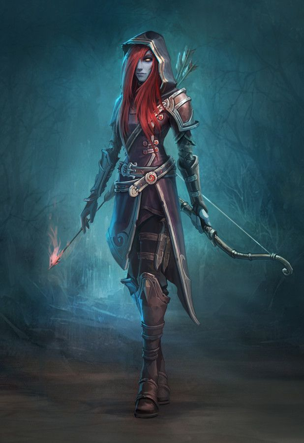 red hair female drow elf archer arcane dungeons and