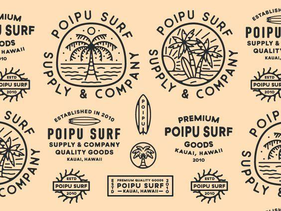 Poipu Graphic Design Logo Surf Logo Surf Design