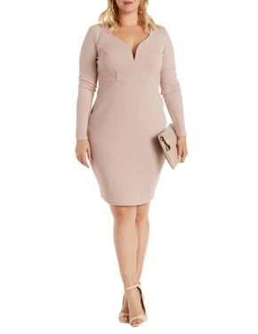 Plus Size Plunging Sweetheart Long Sleeve Dress