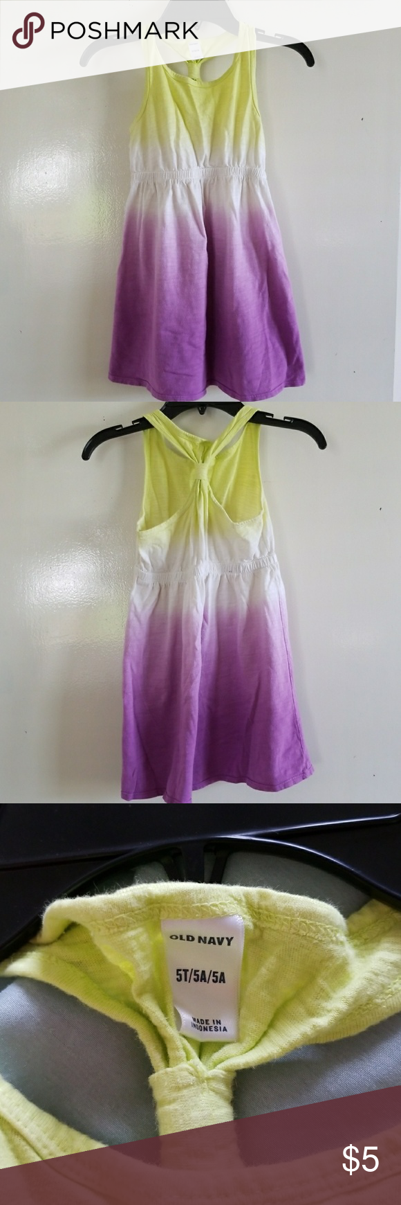 Old Navy Ombre Racer Back Dress Lightweight and bright colors!! Purple, and citron!! Tiny spot on back (pic 4) but otherwise in good condition!! Old Navy Dresses