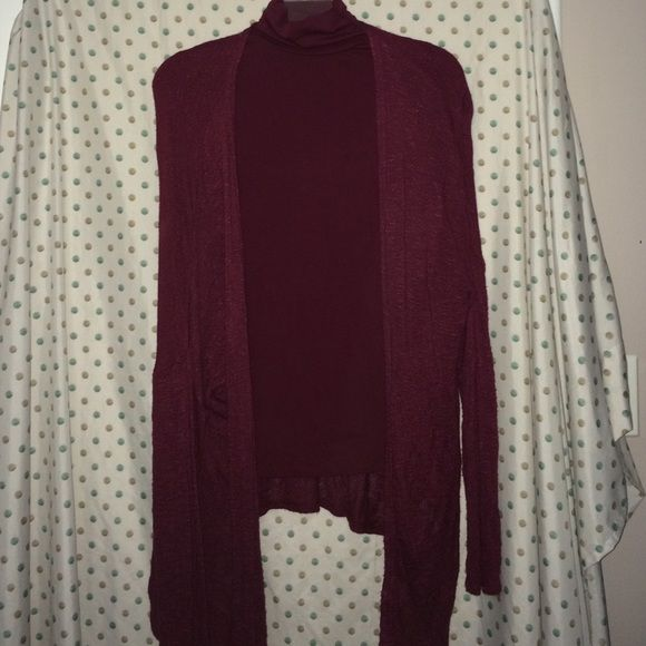 Forever 21 Maroon Bundle Maroon Basics Bundle. Long sleeve turtleneck NWT. Size M. Long sleeve lightweight cardigan is gently worn. Size M/L. Perfect for cooler spring days. And definitely a staple for fall.  Forever 21 Sweaters Cardigans