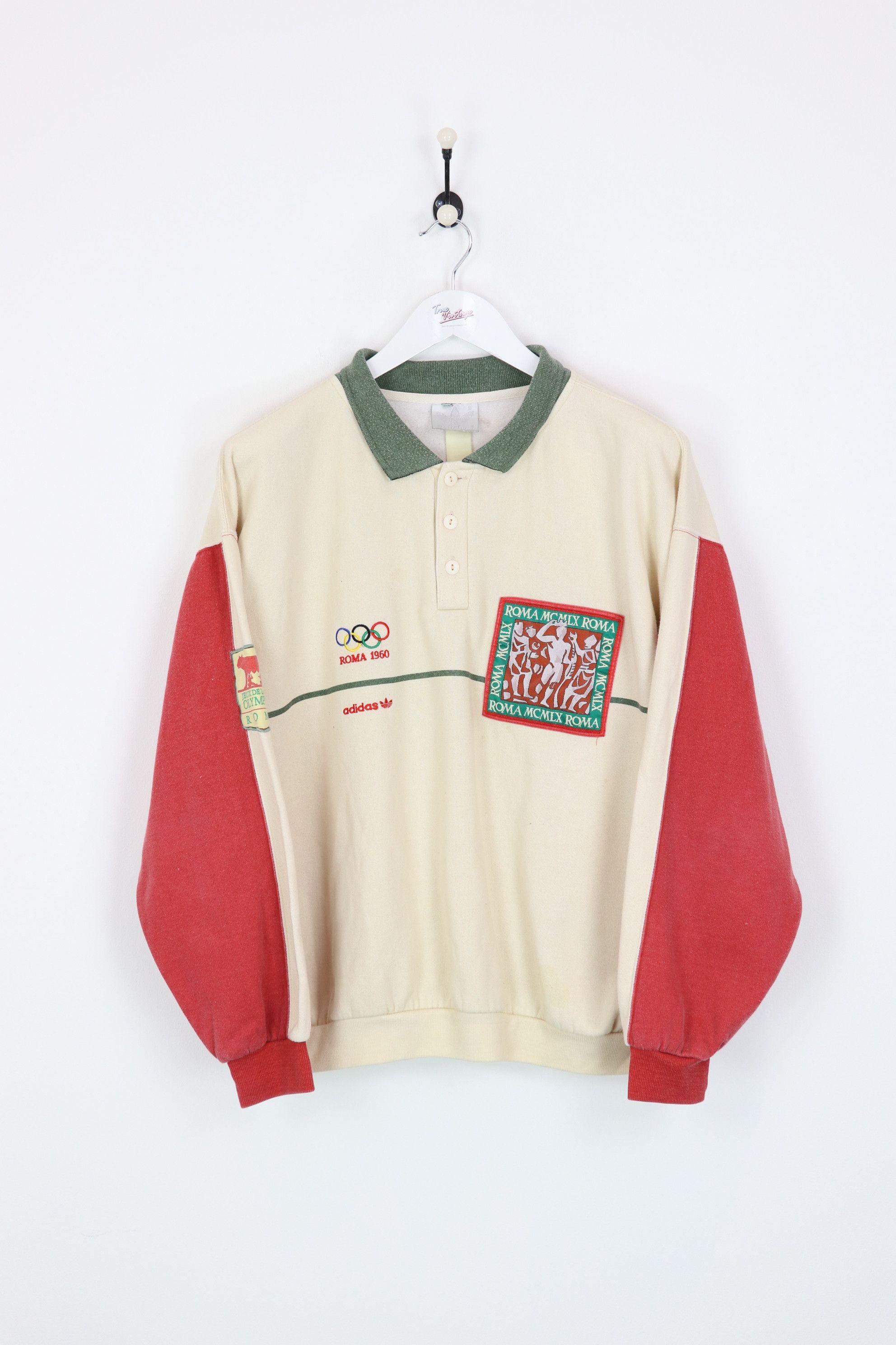 Adidas Roma Olympic Sweatshirt Cream Red Medium Vintage Sweatshirt Red Media Sweatshirts [ 2976 x 1984 Pixel ]