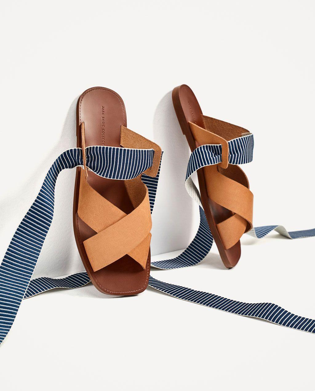 image 1 de chaussures plates en cuir avec rubans Échangeables de