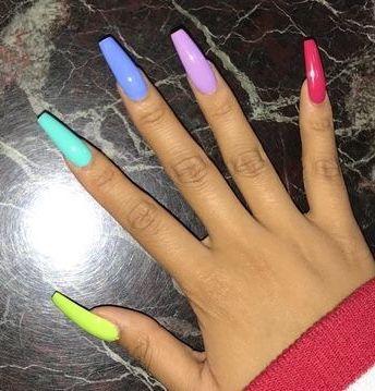 Rainbow Nails Rainbow Nails Nail Designs Acrylic Nails Coffin