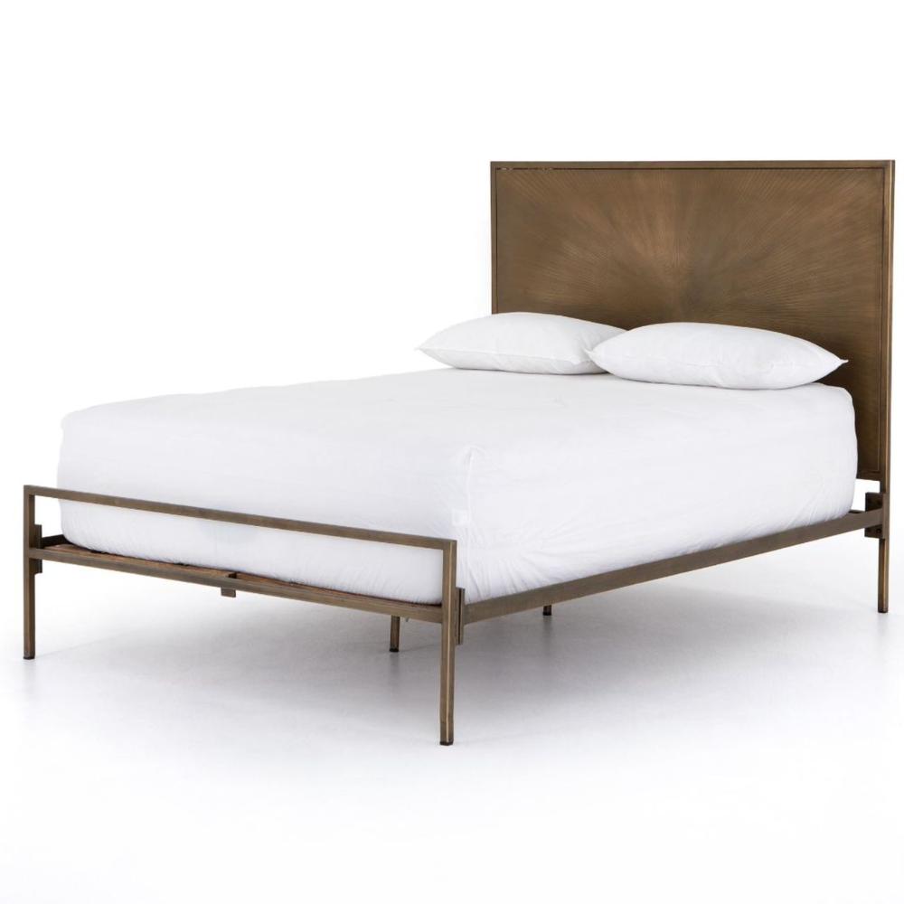 Sunburst Industrial Aged Brass Iron Queen Bed In 2020 Queen Beds