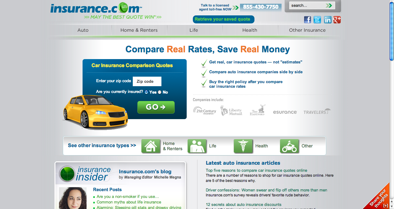 Car Insurance Comparison Auto Insurance Quotes Insurance Com