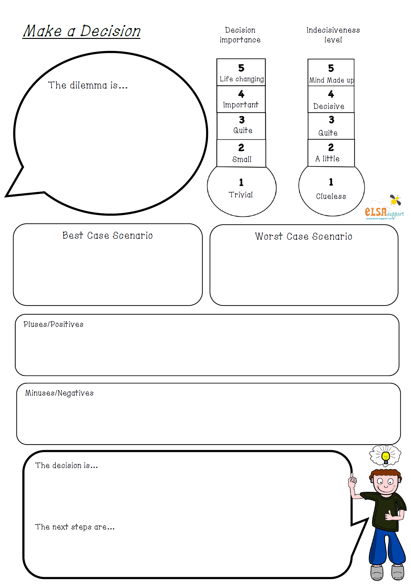 A worksheet to help a child (or even you) to make a