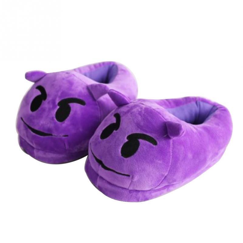 Women Emoji Soft Cute Cartoon Slippers For Home Use Winter Warm ...