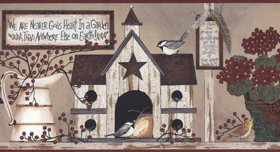 Wallpaper By Topics Kitchen Birdhouse Wallpaper Border Country Art Primitive Painting Linda Spivey