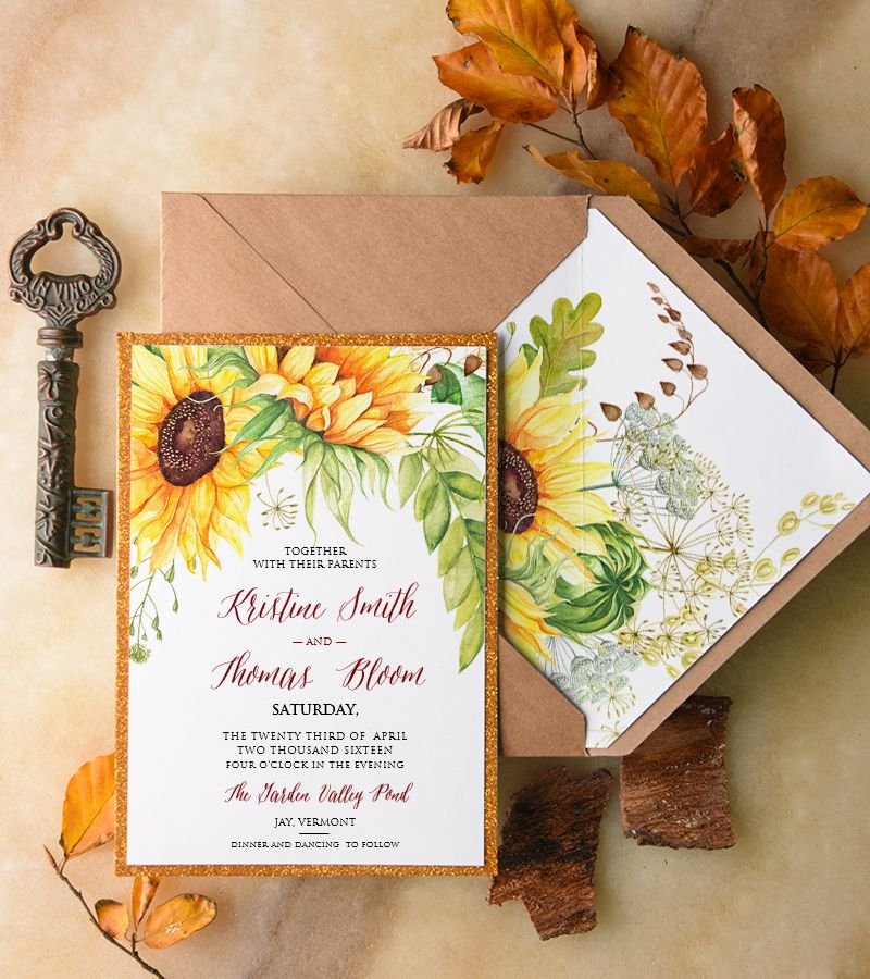 sunflower wedding invitations printable%0A WEDDING INVITATIONS watercolor    BHszR z