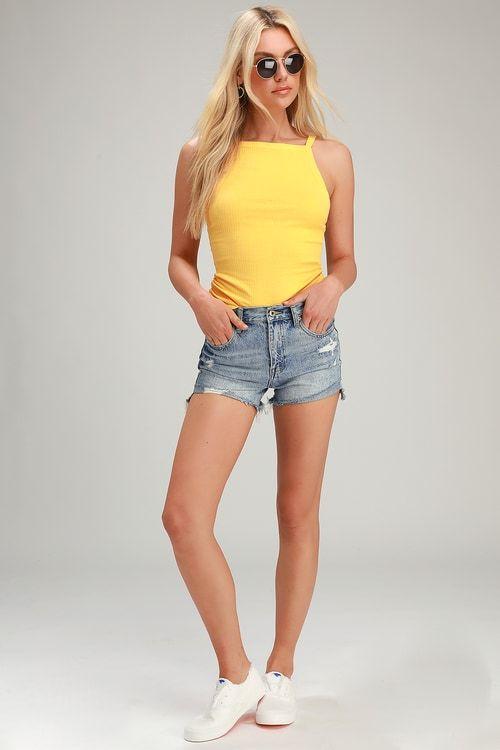 Lulus | Kylee Light Wash High Rise Relaxed Denim Cutoff Shorts | Size 24 | Blue | 100% Cotton #denimcutoffshorts