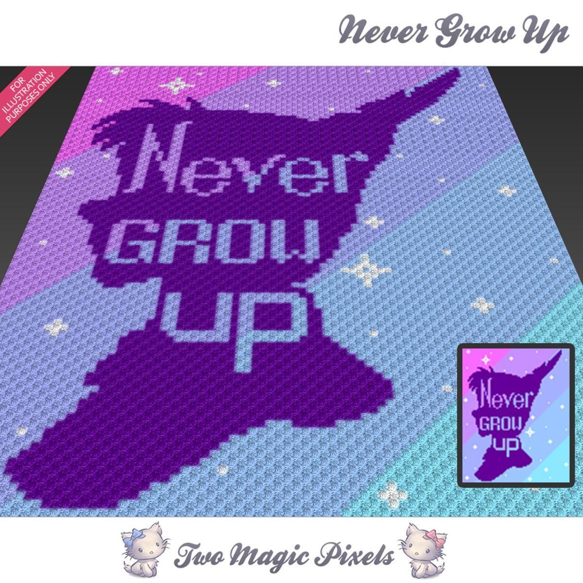 Never Grow Up C2C Crochet Graph