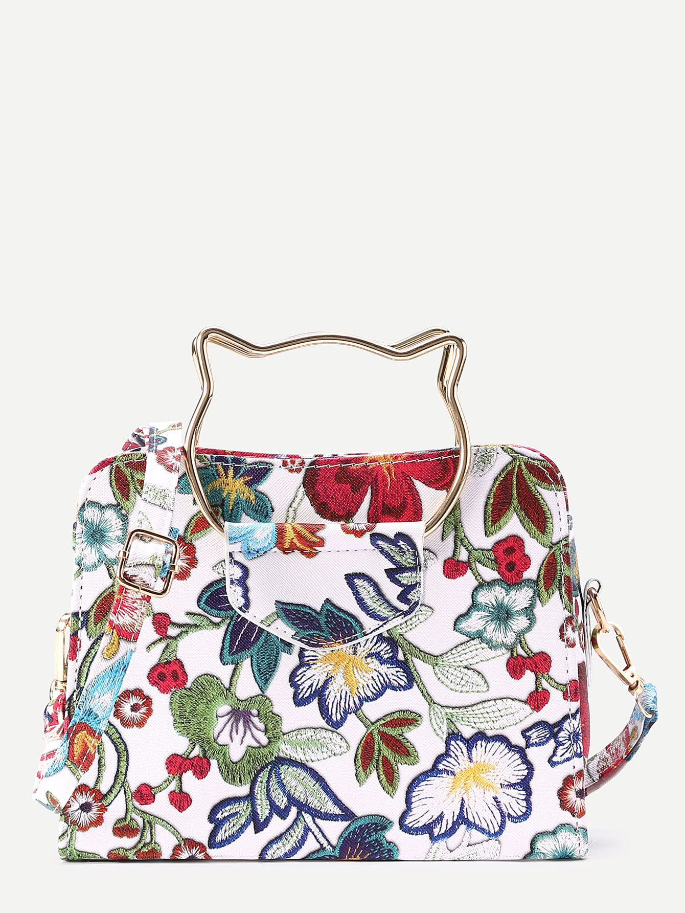 ecaddf8f25 Shop Flower Embroidery Shoulder Bag With Cat Ear Handle online. SheIn  offers Flower Embroidery Shoulder
