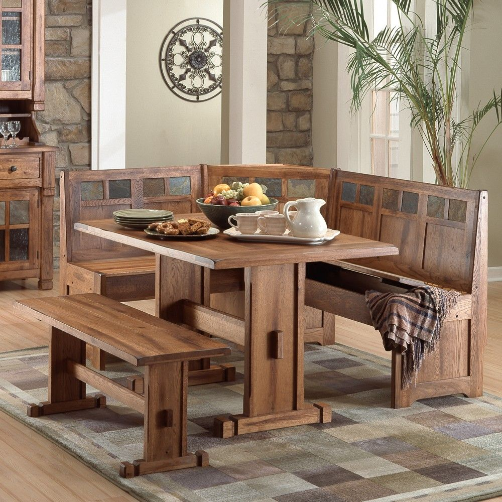 Sedona Wood Dining Nook Set with Side Bench in Rustic Oak by Sunny ...