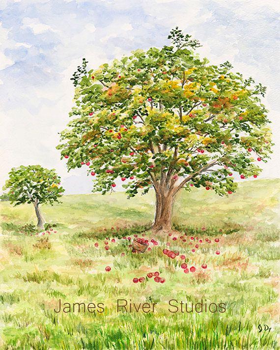Apple Art Apple Painting Apple Tree Landscape By Jamesriverstudios Tree Painting Apple Painting Watercolor Trees