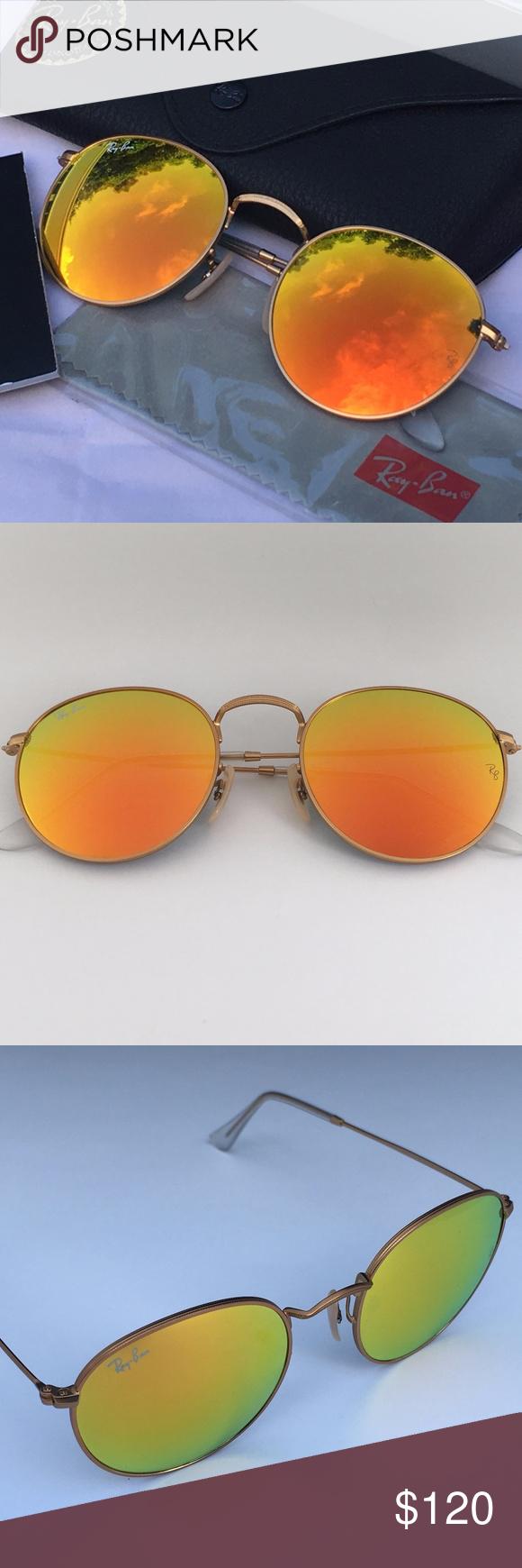 26cd6ef154e RAY-BAN ROUND SHAPE SUNGLASSES Orange Mirror Gold 100% AUTHENTIC  amp  BRAND
