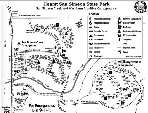 lake lopez campground map Hearst San Simeon State Park Map San Simeon State Park San lake lopez campground map