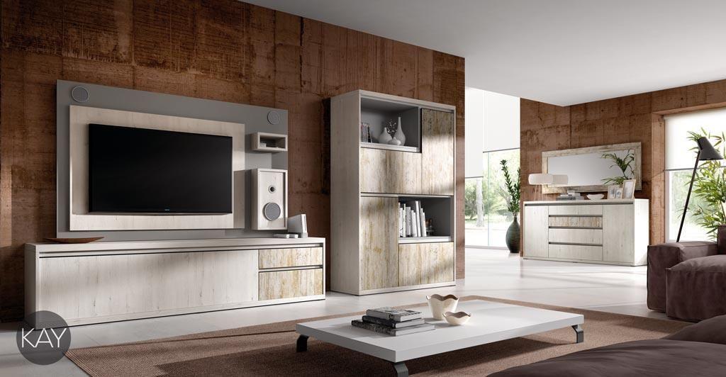 muebles de saln con un original y prctico panel de televisin