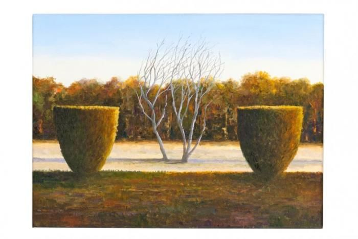 Leo Robba Two hedge Pines,Gold  2011 oil on canvas38x52cm$1800SOLD