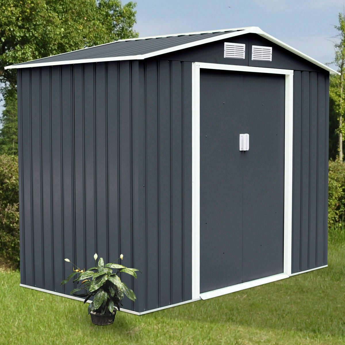 9 X 6 Outdoor Storage Shed Tool House Sliding Door Steel Garden Storage Shed Outdoor Storage Sheds Garden Tool Storage