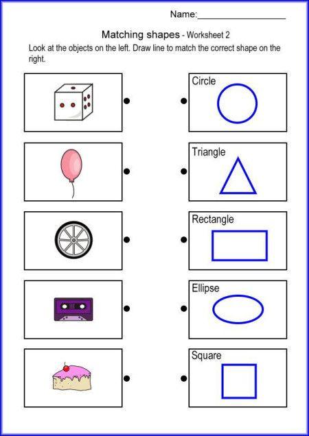 Matching Shapes Math Worksheet Printables Worksheets For Kids Shapes Worksheets Shape Worksheets For Preschool Shapes Worksheet Kindergarten