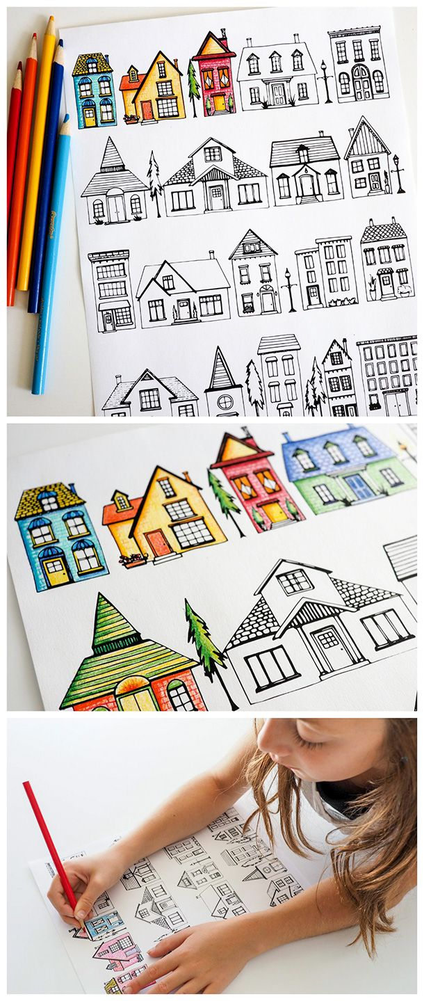 Houses Coloring Page | Free printable, Parents and Teacher