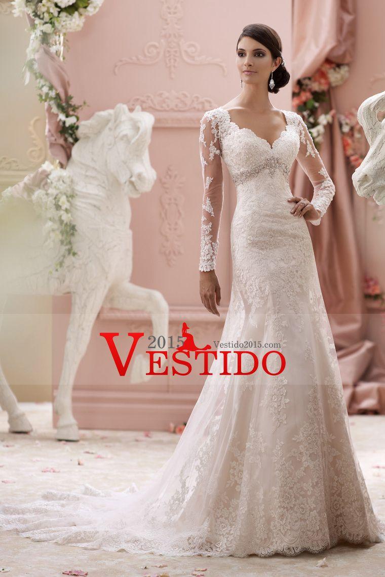 2015 V-Cuello completas vestidos de boda de las mangas con apliques ...