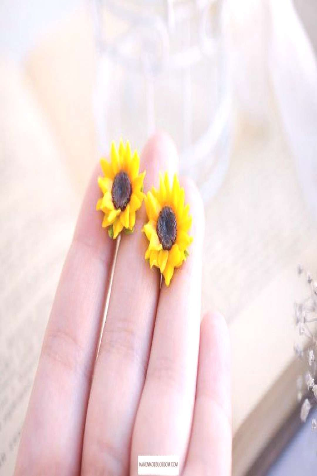 #handmadeblossom #bridesmaid #sunflower #earrings #flowers #jewelry #wedding #flower #garden #summer #yellow #studs #clay #gift garden giftYou can find Studs and more on our website.garden gift