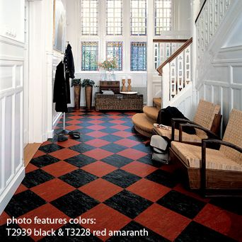 Color your floor old school vinyl tile patterns vinyls for Checkered lino flooring