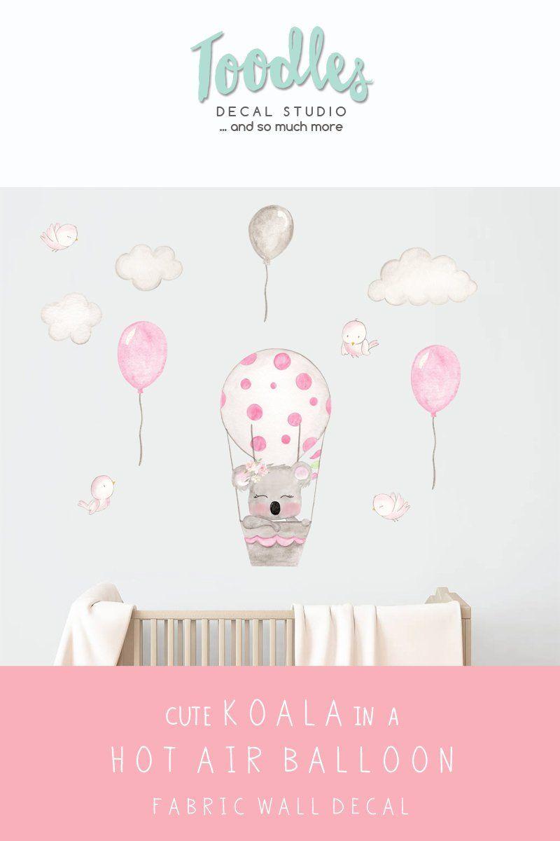 Cute Koala Wall Decal Nursery Hot Air Balloon Fabric Stickers