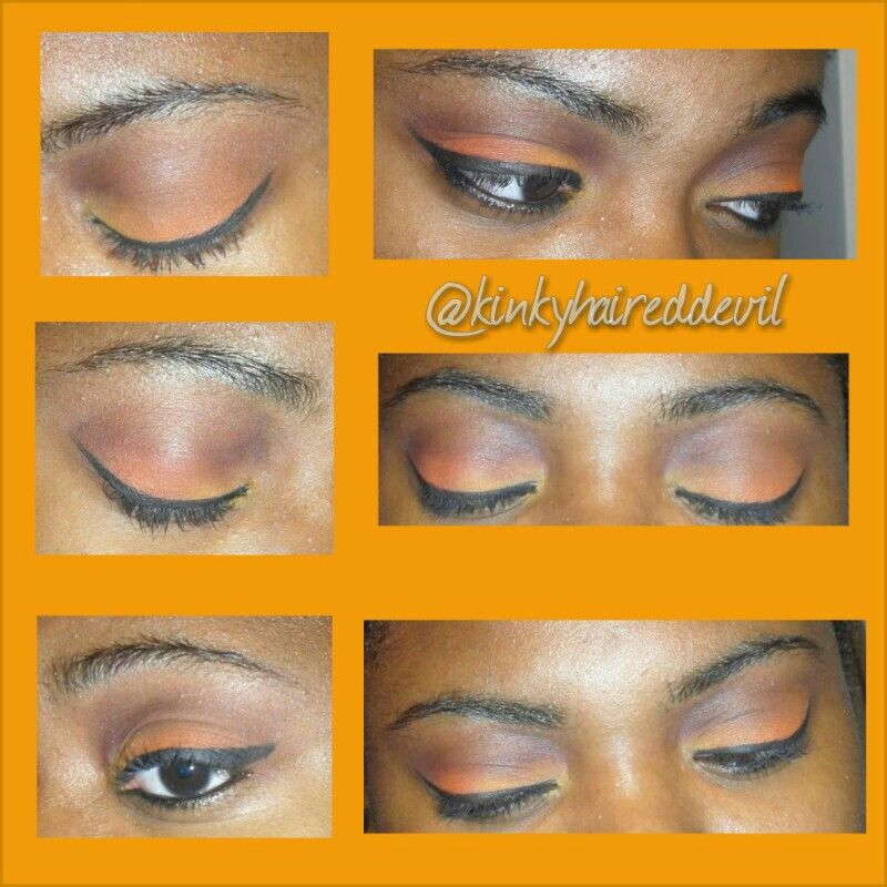 Orange and brown smokey eye with a hint of yellow using my coastal scents 252 palette.