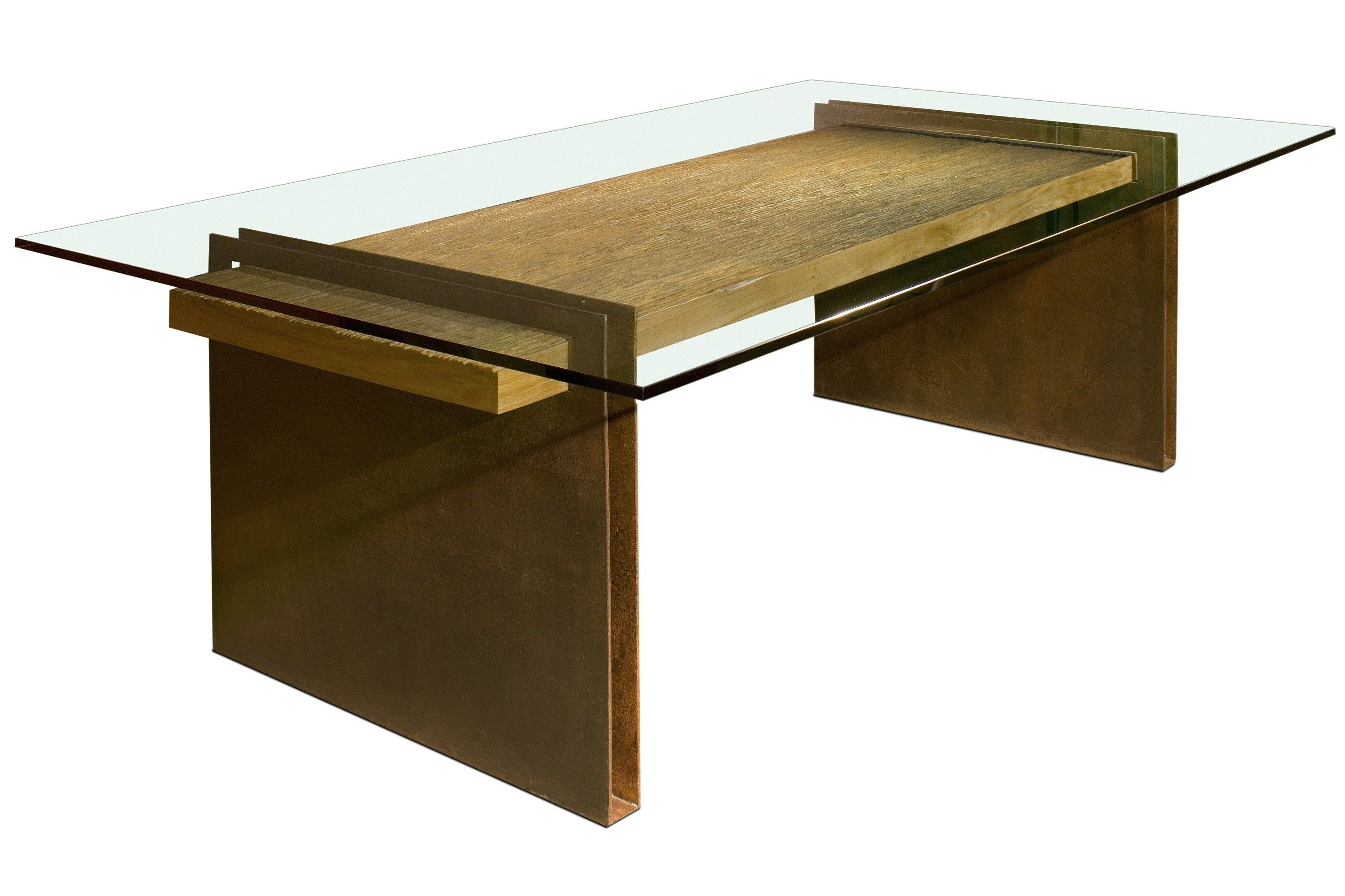 Rectangle Glass Dining Table With Unique Two Brown Wooden Pedestal