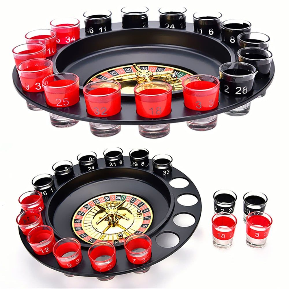 Shot Glass Roulette drinking Game Set 2 Balls and 16