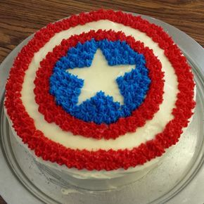 Captain America cake I decorated this birthday cake for my sons