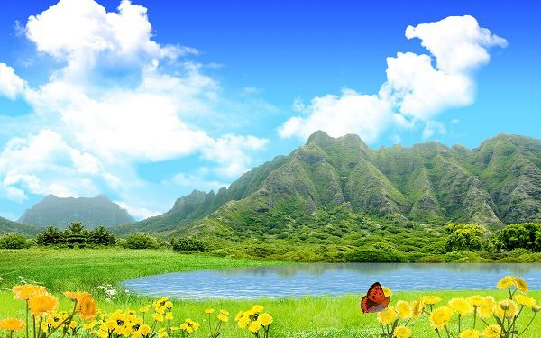 Free Scenery Wallpaper Includes Green Mountains Blue Sea And Yellow Flowers Fit For All Users Free Scenery Wallpaper Fantasy Landscape Nature Wallpaper