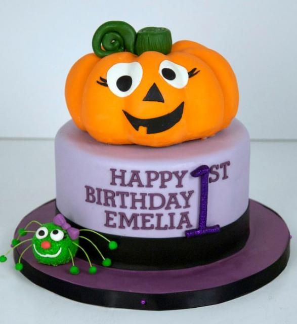 Halloween Theme First Birthday Cake With Pumpkin And Spider For Girl