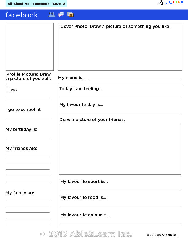 Facebook Profile Writing Exercise With Flash Cards With