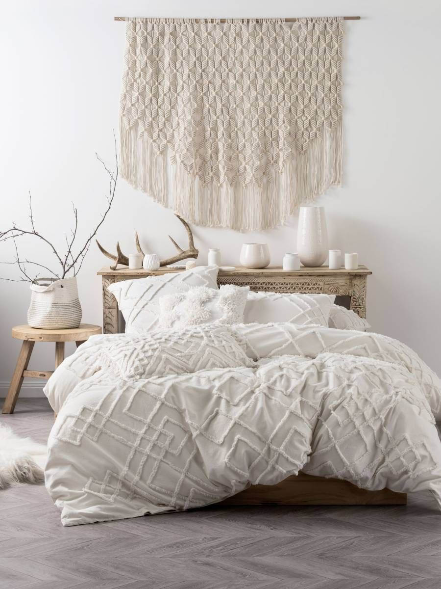Linen house sanura quilt cover textural pure cotton tribal new