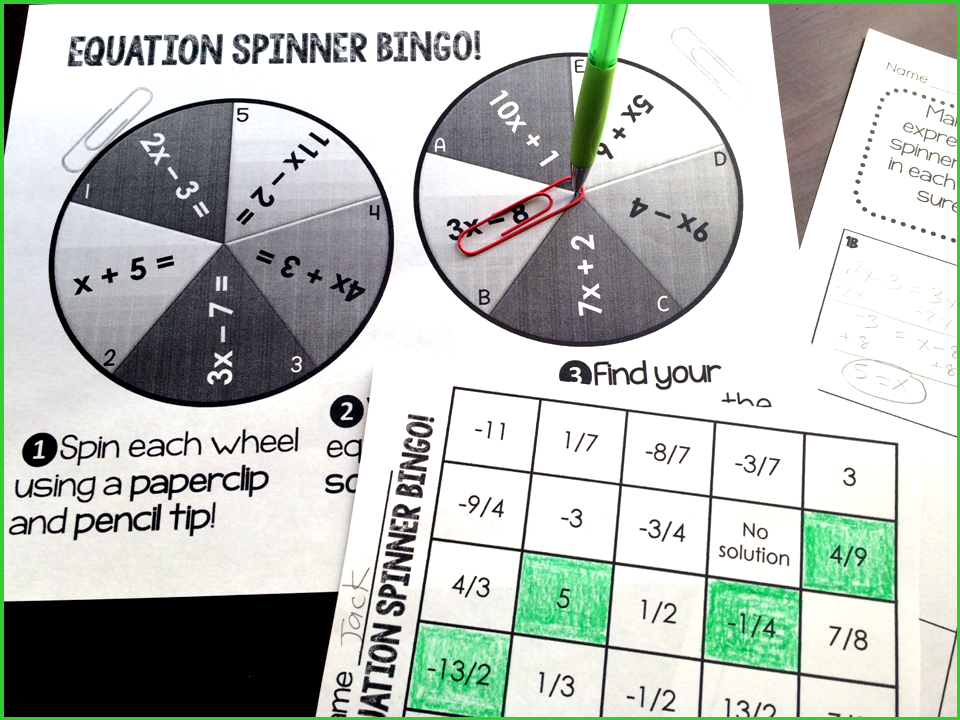 Algebra fun! Students spin spinners to build equations (with x on BOTH sides). They then find their answers on their BINGO cards. They have to do a lot of Math to win (tee hee:)