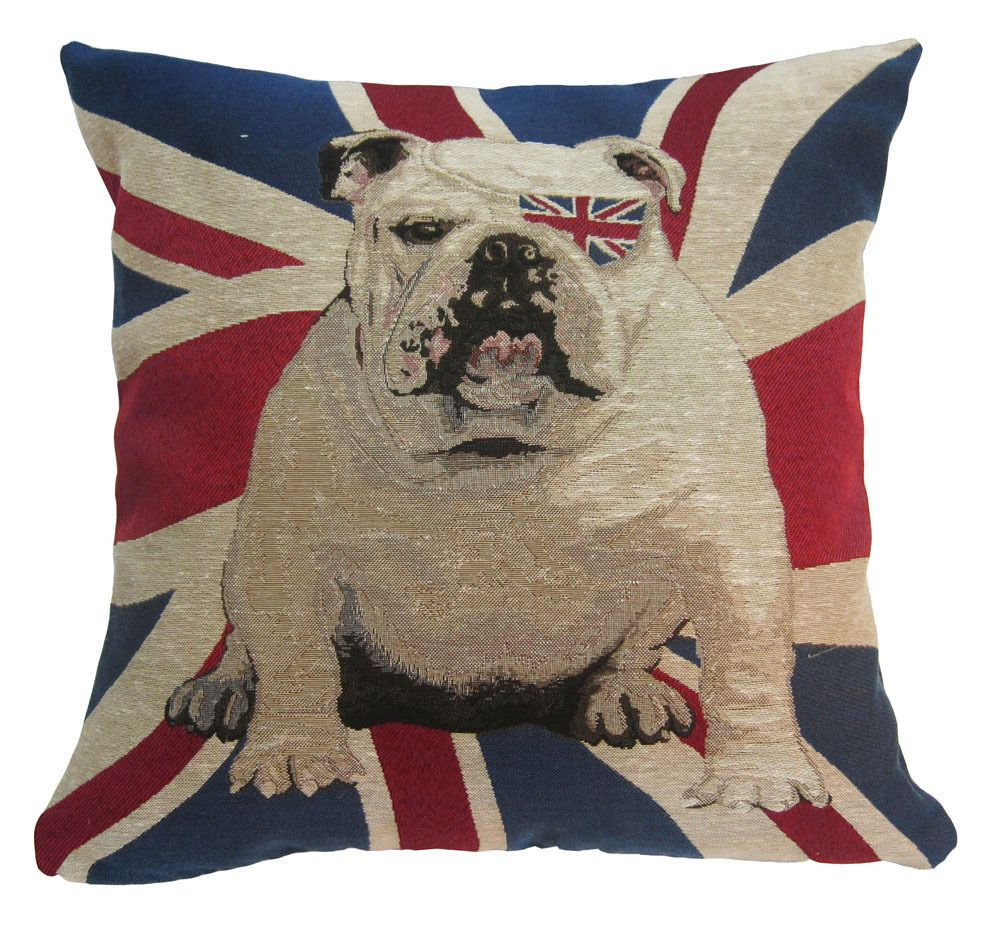 "Nj27a Linen Blend UK English Flag Bulldog Dog Cushion Cover/Pillow Case 17""-18"" #QQPlace"